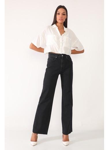 Darkly Jeans Süper Yüksek Bel Siyah Straight Fit Kadın Jean Siyah